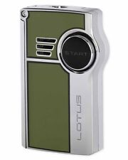 Lotus 5130 Genesis Dual Flame Cigar Lighter with Punch Green Lacquer Chrome