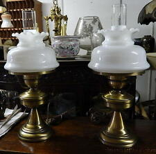 Pair 1970's Hurricane Lamps Ruffled Glass Shade Chimney & Decorative Metal Base
