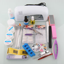 Pro Full Nail Art Kit Acrylic Powder UV Nail Lamp Brush Tips  Buffer Dryer