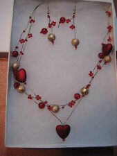 Heart Necklace & Earrings Set Costume Faux Fashion Jewelry Gift Box 15