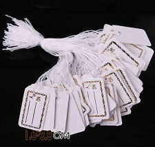 DIY 100 Pcs Labels Jewelry Strung Pricing Price Tags with String Silver