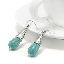 New Jewelry Women Blue Turquoise &Sterling Silver Drop Dangle Earrings E7