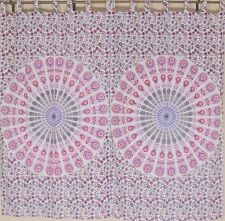Pink Peacock Tail Fan 2 Tab Top Window Curtain Panels Cotton Indian Print 82""