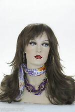 Long Straight Softly Layered Featuring Bangs Medium Blonde Brunette Red Wigs