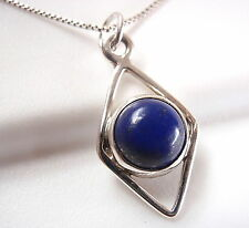 Lapis Lazuli 925 Sterling Silver Pendant Parallelogram Round New