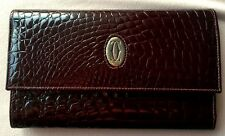 CARTIER Coco Crocodile baby Cheques Leather Wallet credit card purse bag clutch