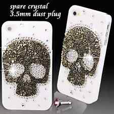 COOL LUXURY 3D BLING SKULL DIAMANTE PROTECTIVE WHITE CASE COVER FOR IPHONE 4 4S