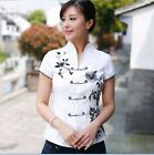 White Chinese Style Embroidery Flower Women's Cotton Top Dress/ T-shirt Blouse