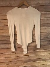 American Apparel Long Sleeve CrewNeck Bodysuit Ribbed Thong White -Size XS - NWT