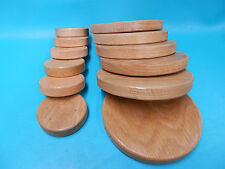 "12,  6- 3""& 6- 6""X 3/4"" Solid Hard Wood Circle Plaque Toy Wheel Cutout Base Oak"
