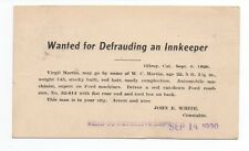 1920 Reward Postcard for Defrauding from Gilroy Constable to SF Police
