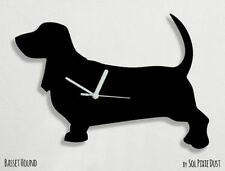 Basset Hound Dog Silhouette - Wall Clock