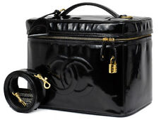 AUTH CHANEL-CC-2way-Cosmetic-Vanity-Hand-Bag-Black-Patent-Leather-VTG