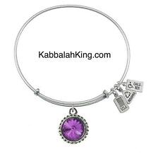 Wind & Fire February Amethyst Crystal Birthstone Charm Silver Bangle Bracelet