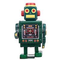 Vintage Wind Up CLOCKWORK Walking Robot TIN TOY Retro Collectible Gift w. Key