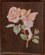 Vintage Lanarte Flower Fairies Pink Rose Garden Counted Cross Stitch Kit