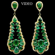 66 CTS!! HUGE!! NATURAL TRANSLUCENT GREEN EMERALD  925 SILVER EARRINGS 14K GP 2""