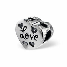 *New* 925 sterling silver puffy heart charm bead - oxidised love & heart detail