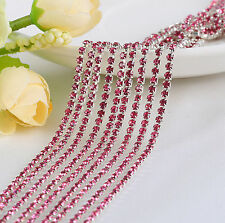2mm Cystal Rhinestone Close Cup Chain Trimming Claw Chain Dark pink 1yd