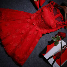 Women's Lovely Red O-Neck Solid Lace Above Knee Evening Dress