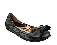 NIB $90 Black Leather GUESS Shoes Ballet Flats Oversized Bow on Front Size 7