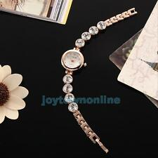 Fashion Women's Diamond Bracelet Stainless Steel Dial Quartz Crystal Wrist Watch