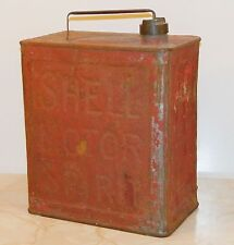 Vintage Shell Motor Spirit 2 Gallon Fuel Petrol Can - Square Shape - Red