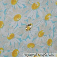 BonEful Fabric Cotton Quilt Yellow White Flower Daisy Dot French Cottage L SCRAP