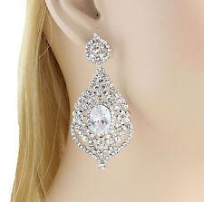 Daisy Austrian Rhinestone Crystal CZ Chandelier Dangle Earrings Wed E3511 Silver