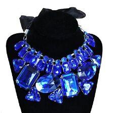 Collar Cadena grande Estrás AZUL REAL Collar de diamantes de imitación Boda