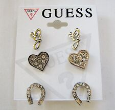 "NEW-SET OF 3 GUESS SILVER TONE EARRINGS;HEART,HORSE SHOE+CRYSTAL ""G"" STUD"