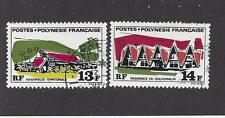 FRENCH POLYNESIA - 253-254; 256-257 - USED - 1969 ISSUES - POLYNESIAN BUILDINGS