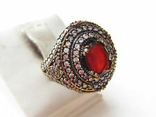 925 Sterling Silver Turkish Authentic Hurrem Sultan Ruby Oval Ring Sz 9
