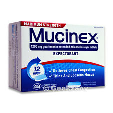 Mucinex Expectorant - Maximum Strength 1200 mg Guaifenesin Extended - 48 ct -New