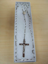 """Vintage 18"""" Sterling Silver Crystal Rosary Beads"""