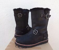 UGG NOIRA BLACK WATER-PROOF LEATHER/ SHEEPSKIN LINED BOOTS, US 8/ EUR 39 ~ NEW