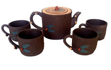 CHINESE Tree Branch Fruit Bark Yixing Zisha Clay Teapot Set Cups Marked