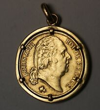 1817 A 20 Francs Gold French Coin King Louis the Eighteenth XVIII in Gold Bezel
