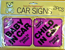 BEAUTIFUL BEGINNINGS BRAND NEW PACK OF 2 CAR SIGNS BABY CHILD IN CAR WARNING