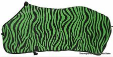 "Green  Zebra Print Softfleece Blanket Liner/Sheet Medium 72-74"" Horse Tack"