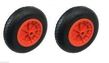 "PACK OF 2 ORANGE 14"" WHEELBARROW WHEELS 3.50-4.00-8 REPLACEMENT INFLATABLE TYRE"