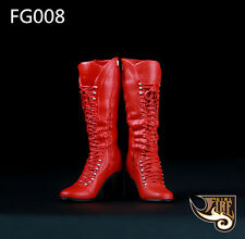 """1/6 Scale Fire Girl Toys Red Long Boots FG008 For 12"""" Action Figure"""