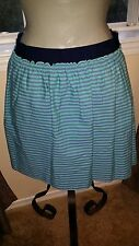 J.CREW  Teal/Navy Stripe 100% Cotton Fabric Skirt   ** Size 8 **  New with Tags