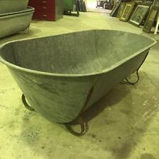 Vintage industrial Antique French galvanised bath tub 40s  #double side