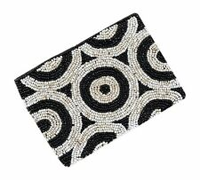 Circle Design Beaded Wallet Evening Cosmetic Travel Bag Purse in Black & White