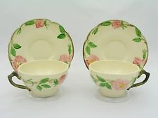 (2) FRANCISCAN USA - DESERT ROSE - FLAT CUPS & SAUCERS - BROWN TV MARK