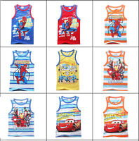 2015 Kids Boys Summer Vest Tops Sleeveless Striped Cartoon Clothing 3-10 Yearas