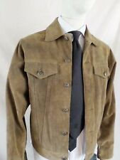 GAP brown genuine suede trucker denim jean jacket SMALL