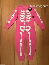 Halloween Girls Glow In Dark X-Ray Skeleton Sleepsuit Pyjama Onesie - 5-6 years