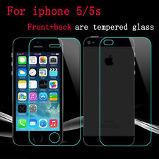 Toughened Tempered Glass Screen Protector for Apple iPhone 5 & 5s Front + Back
